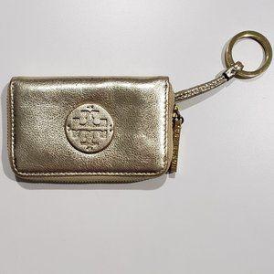 Tory Burch Gold Metallic Card Holder/Key Ring